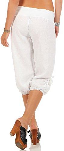 malito Damen Capri Hose aus Leinen | Stoffhose in Unifarben | Freizeithose für den Strand | Chino �?kurze Hose 6302 Weiß