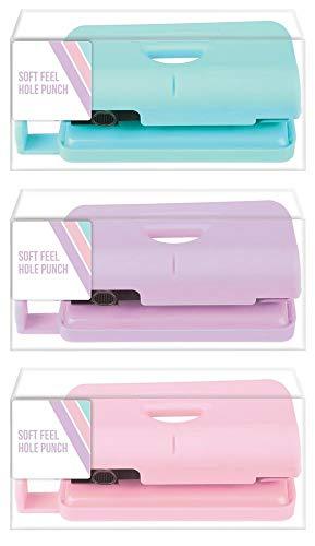 Perforadora papel color pastel tacto suave escritorio