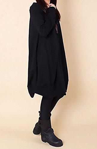 Donna Autunno Lnvernali Largo Tunica da Jumper Maglietta Sciolto Oversized Asimmetrico Sweatshirt T-Shirt Vestito Maglione a Maniche Lunghe Abito Casual Camicia Vestitini Nero