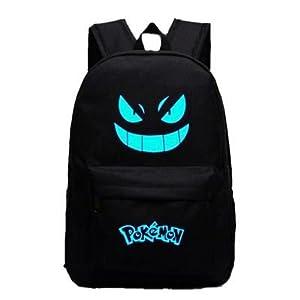 Pokemon Go Luminous Mochila de Hombro Bolsa de bolsa de ordenador portátil escolar Negro con Azul vivos Gengar facial negro Scharz