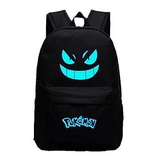 Pokemon Go Luminous Mochila de Hombro Bolsa de bolsa de ordenador portátil escolar Negro con Azul vivos Gengar facial