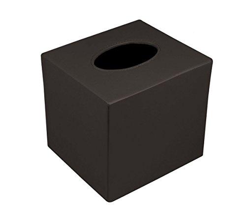 Lucrin - Boite carrée pour mouchoirs - Noir - Cuir Lisse Marron