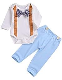 075e1c7b286dc Printemps Bébé Garçon Gentleman Vêtements Ensemble Nouveau-Né Enfant  Tailleur À Manches Longues Barboteuse Et Pantalon 2…