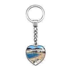 Hqiyaols Keychain Spanien Strand Von Las Canteras Las Palmas Schlüsselkette Kreative Doppelseitige Herz-Kristall-Schlüsselkette Tourist Souvenir Metal