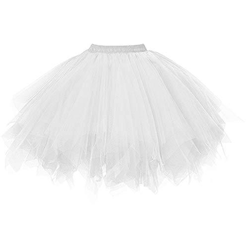 DresseverBrand Damen Petticoat 50er Rockabilly Jahre Retro Tutu Ballet Tüllrock Cosplay Crinoline Weiß ()