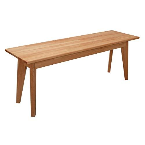 Einfache Holzbank (Krokwood Hans Massivholz Sitzbank in Buche FSC100% massiv Holzbank Natur geölt Esszimmerbank 2-Sitzer und 3-Sitzer Küchenbank Einfache Montage Handarbeit Essbank vom Hersteller (160 x 35 x 45 cm))