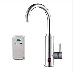 LinkLvoe Calentador de Agua electrico instantaneo, Rotación de 360 ° Potencia Ajustable Grifo eléctrico Profesional, Calentador de Agua instantáneo para Cocina baño ?Clase A de eficiencia energética?