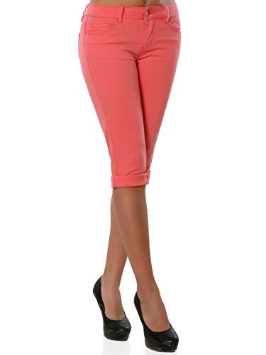 Daleus Damen High-Waist Capri Jeans Kurze Sommerhose DA 15990 Farbe Koralle Größe M / 38
