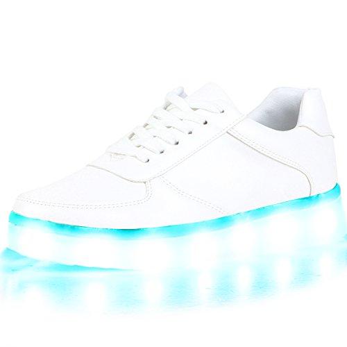 Blinkende LED Damen Herren Sneakers Low Multi Farbwechsel Leuchtend Weiss All
