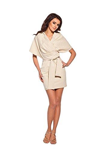 AmazingGirl Luxus Kleid Abendkleid Partykleid Elegant MidiKleid Sportkleider Beige
