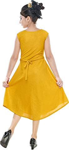 Avistar Girls Cotton Blended Frock Dress (RTGC002 _34, Yellow, 9-10 Years)