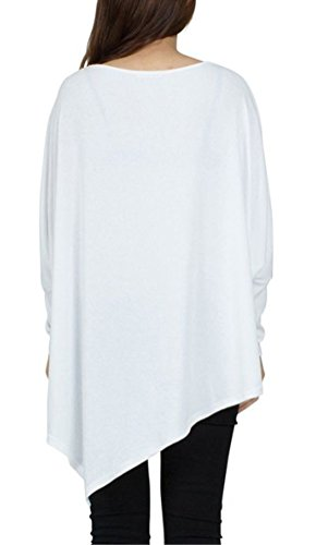 Blansdi Damen Frühling Herbst Casual Langarm Rundhals Unregelmäßig Lose Oberteile Bluse Tops Pullover Oversize T-shirt Sweatshirt Eine Größe Weiß