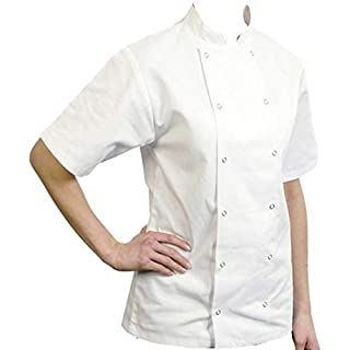 Absab Ltd Bonchef Womens Chef Jacket Short Sleeve 2 Colours Ladies Double Breasted Denny (M, White)
