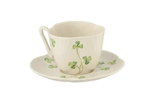 Belleek Pottery Harp Shamrock Cup and Saucer, Green/White by Belleek Pottery