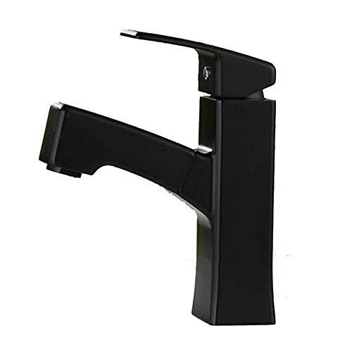 Mainstream home Elegante Ausziehbare Badezimmer Waschtisch-Armatur mit Out-Mischer-Hahn-Messingbassin-Mischer-Hahn-Armatur Ziehen für Badezimmer Badewanne -