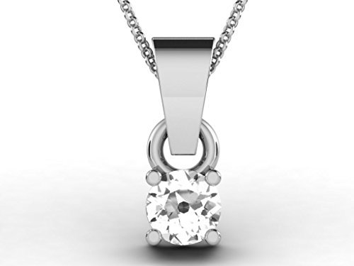 Or Blanc 9 ct Pendentifs Diamant solitaire, 0.2 Ct Diamant, GH-SI, 0.4 grammes.