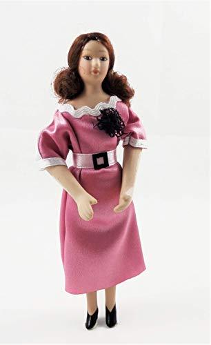 Melody Jane Puppenhaus Modern Dame in Smart Rosa Kleid Porzellan 1:12 Menschen