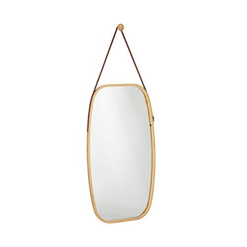 Relaxdays Wandspiegel, oval, Rahmen aus Bambus, Deko Spiegel mit verstellbarem Riemen, Flurspiegel, 76,5x43,5cm, Natur