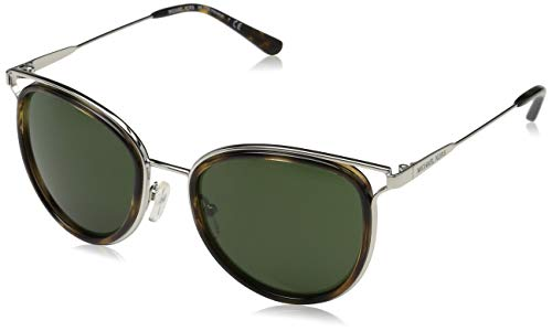 Michael Kors Damen HAVANA 120071 52 Sonnenbrille, Silver Tone/Dark Tortoise/Green Solid,
