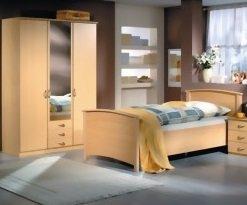 3149: LIEFERUNG in die WOHNUNG - Seniorenschlafzimmer buche dekor bestehend aus Kleiderschrank und Seniorenbett 90x200cm