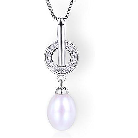 Startreasureland Collana con ciondolo in argento Sterling 925, 10 mm, perla coltivata d'acqua dolce, colore: bianco