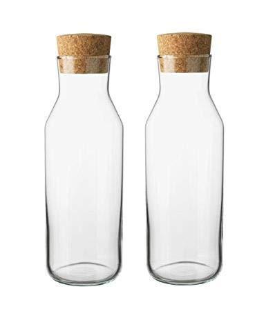 "IKEA 365+ Slim Karaffe mit Korken Deckel, Glas Wasser Krug, Glas Kühlschrank Karaffe, Ice Tea Maker 11\"" tall x 3.5\"" diameter farblos"