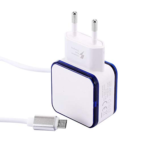 HKFV Aurora Double câble USB à LED pour chargeur Micro USB Phone Wall Adapter 3,1 A Double USB, ABS, Weiß, taille unique, 2G10