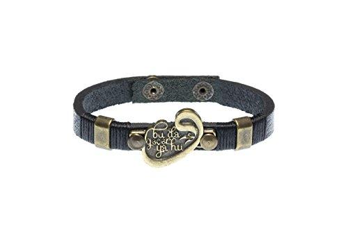 4cdc6db807332 Remi Bijou Gök-Türk Leather Bracelet for Men Unisex 'Bu da gecer ya hu'  Turkish Waw Vav - black