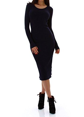 MOEWY Damen Kleid, ein knielanges Strickleid mit langen Ärmel und Rundhalsausschnitt Gr. 34-38 Schwarz