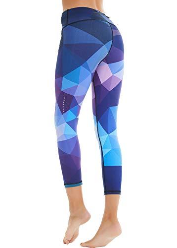 COOLOMG Damen Sport Leggings Yoga Hosen-Fitnesshose, A-lila (Capri), Gr.-M