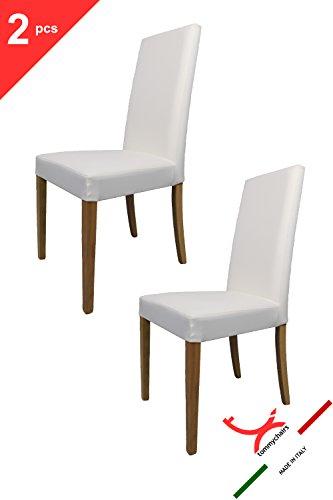 2er Set Stühle für die Küche und Esszimmer, robuste Struktur aus lackiertem Buchenholz, Farbe Eiche, gepolstert und mit weissem Kunstleder überzogen. Set bestehend aus 2 Stühlen Ginevra Farbton Weiss By Tommychairs (2 Stuhl Stück Eiche)