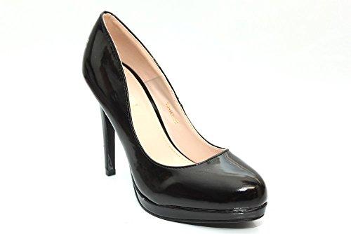 Femme Noir Talons Hauts Fête Bureau Cour Chaussures Taille 3–8 Noir - noir
