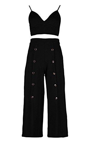 Noir Femmes eva ensemble jupe-culotte boutonnée et brassière à décolleté plongeant Noir