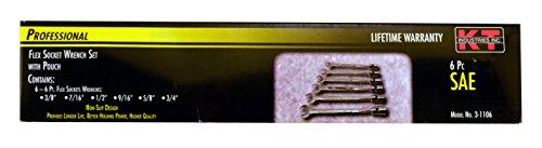 k-t Industries 3-1106Flex Steckschlüssel Set, 6-tlg. - Flex Socket Set