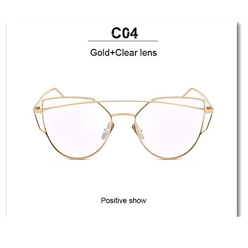 Sonnenbrille Hot Neueste Cat Eye Brille Frame Frauen Twin-Beams Metall Brille Frame Clear Mode Brille Tropfenschiff Gold