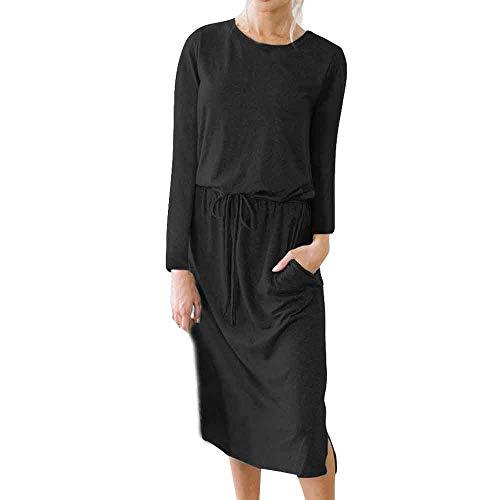 FIRSS Frauen Taillenband Strandkleid | Taschen Minikleid | Asymmetrisch Ballkleid | Rundhals...