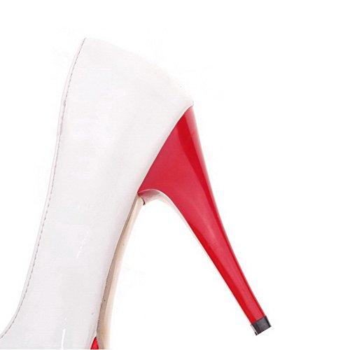 VogueZone009 Femme Tire Pu Cuir Rond à Talon Haut Couleurs Mélangées Chaussures Légeres Rouge