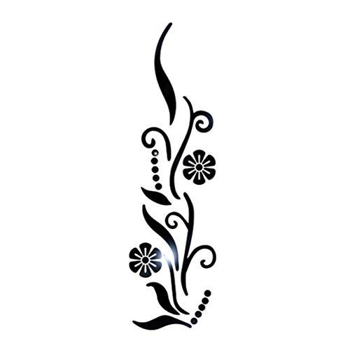 Happy Event Blume Bad Acryl gespiegelt dekorative Aufkleber Wandkunst Spiegel (Schwarz)