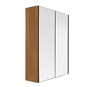 Premier Housewares Wall Cabinet with Oak Effect/Mirror, 63.5 x 30 x 13.5 cm - Transparent
