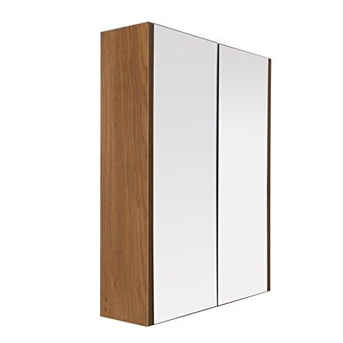 Premier housewares 2403292, armadietto pensile a 2 ante, con specchio, effetto quercia