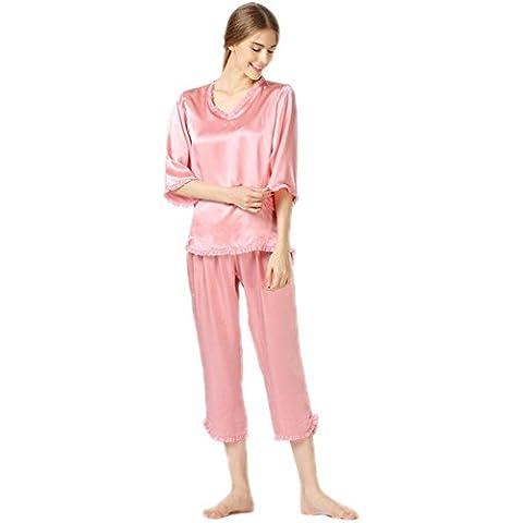 DSHUY Ladies High-end seta 100% seta manica lunga v collo qualità pigiameria casa Abbigliamento invernale in due pezzi , a , m