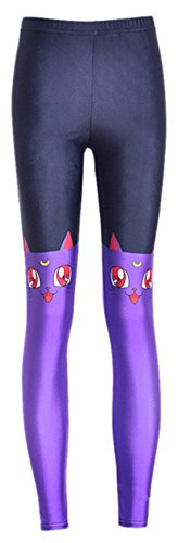 Donna 3D Moon Cat Sailor stampato Push up su tutta la lunghezza leggings, Purple, XL