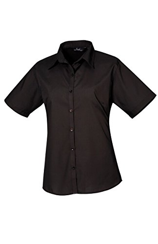 PW302 Ladies Poplin Blouse Short Sleeve (Damenbluse/Kurzarm) Black