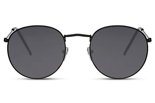 Cheapass Sonnenbrille Rund Schwarz Grau UV-400 Damen Herren