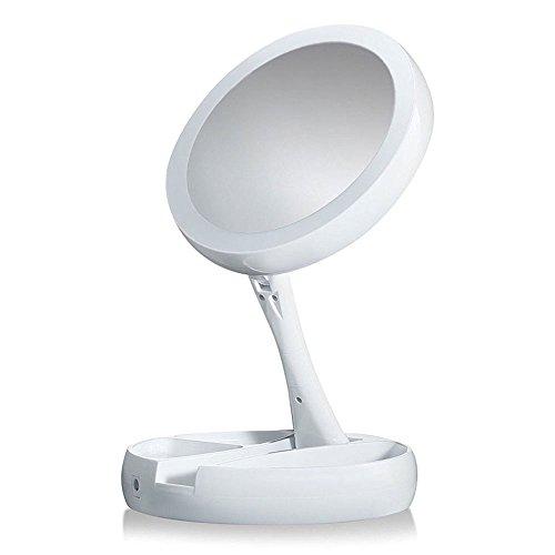 Relangce Kosmetikspiegel mit LED Beleuchtung, Faltbarer Schminkspiegel mit 10x Vergrößerung und...