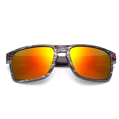 WTACK Vintage Imitation Holzmaserung Sonnenbrille FrauenEinzigartige Holzbeine Gläser Reflektierende Spiegel Sonnenbrille