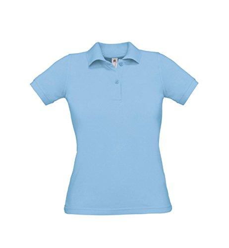 Donne Safran Polo Polo femminile abbracciare corpo Sky Blue