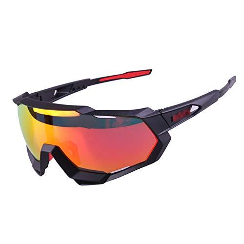 ZYSMC Gafas De Montar Al Aire Libre Deportes Límite Bicicleta De Montaña Gafas De Sol Parabrisas,Blackred