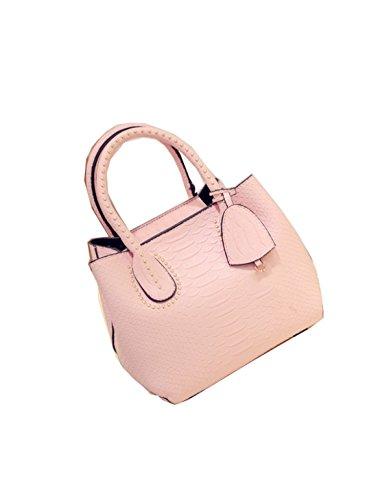 PACK Handtaschen Stein Muster Ring Shells Frauen Schulter Diagonal Tasche,D:Gray C:Pink