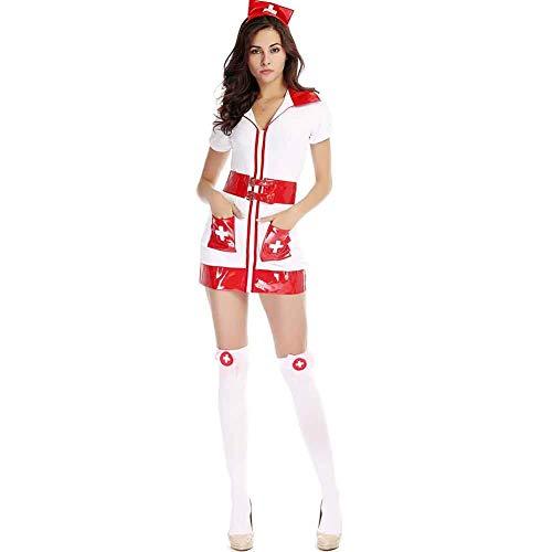 CHB Weiße Krankenschwester Arzt Anzug Halloween Cosplay Anzug Spiel Uniform Anzug Damen Sexy Kleidung,White